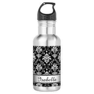 Monogram Black and White Damask 532 Ml Water Bottle