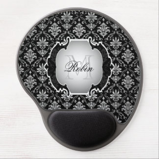 Monogram Black and White Damask Gel Mouse Mat