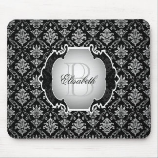 Monogram Black and White Damask Mouse Pad