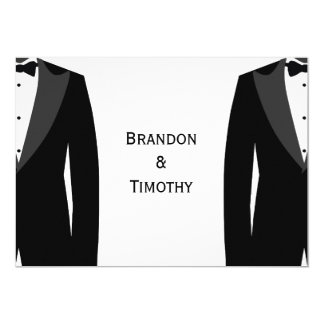 Monogram Black And White Gay Wedding RSVP Card 5x7