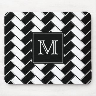 Monogram Black and White Herringbone Mousepad