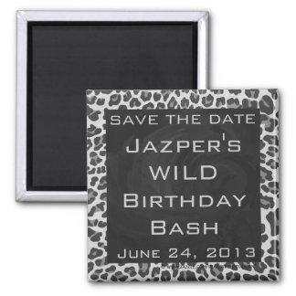 Monogram Black and White Leopard Print Square Magnet