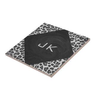 Monogram Black and White Leopard Print Tile