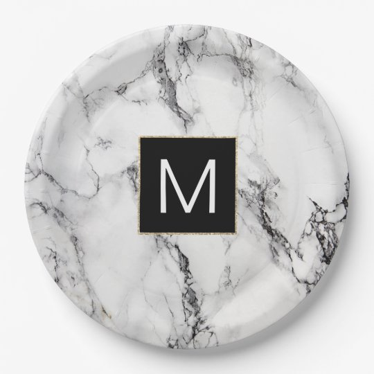 monogram black and white marble look paper plate
