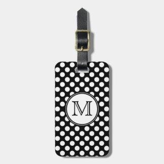Monogram Black and White Polka Dot Luggage Tags
