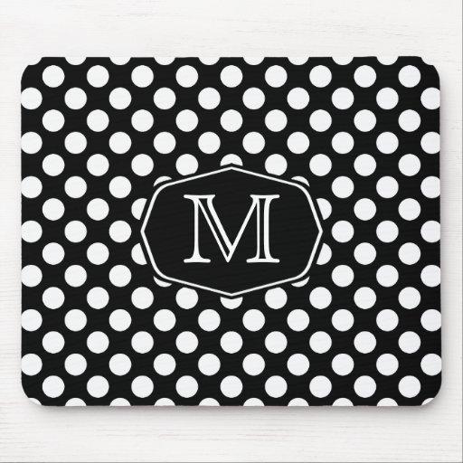 Monogram Black and White Polka Dot Mousepad