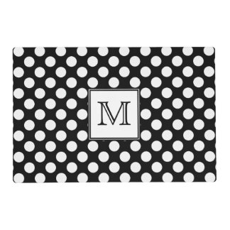 Monogram Black and White Polka Dot Laminated Placemat