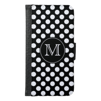 Monogram Black and White Polka Dot Samsung Galaxy S6 Wallet Case