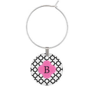 Monogram Black and White Quatrefoil Wine Charm
