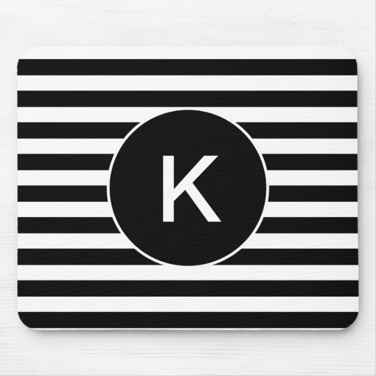 Monogram Black and White Striped Mouse Mat