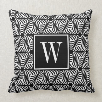 Monogram black and white twisted triangles cushion