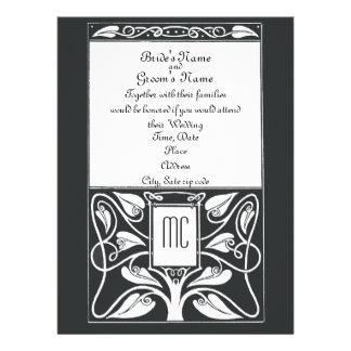 Monogram Black and White Vines Wedding Invitation