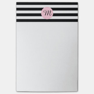 Monogram Black and White with Pink Striped Post-it Notes