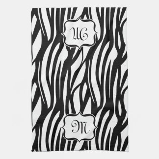Monogram Black and White Zebra Print Kitchen Towel