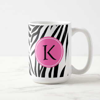 Monogram Black and White Zebra Print with Hot Pink Coffee Mug