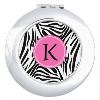 Monogram Black and White Zebra Print with Hot Pink Compact Mirror