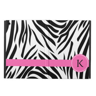Monogram Black and White Zebra Print with Hot Pink iPad Air Covers