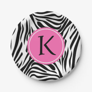 Monogram Black and White Zebra Print with Hot Pink Paper Plate