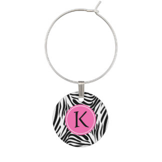 Monogram Black and White Zebra Print with Hot Pink Wine Charm
