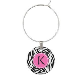 Monogram Black and White Zebra Print with Hot Pink Wine Glass Charm