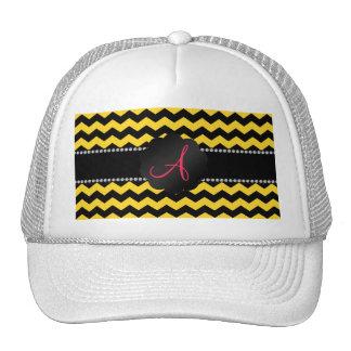 Monogram black and yellow chevrons cap