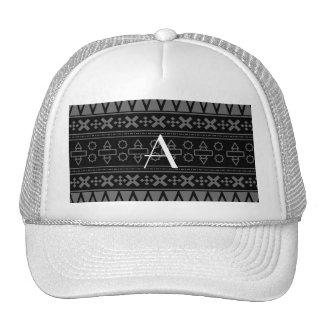 Monogram black aztec pattern hats