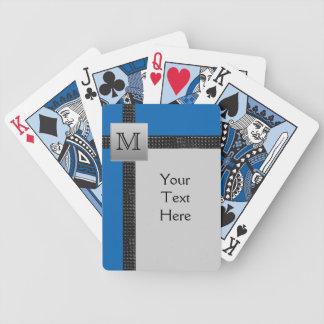 Monogram Black, Blue, Gray Playing Cards