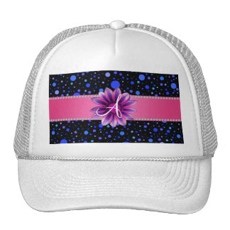 Monogram black blue polka dots purple daisy mesh hats
