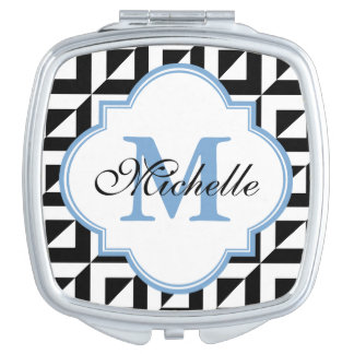Monogram Black Blue White Modern Compact Mirror