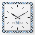 Monogram Black Blue White Modern Square Wall Clock