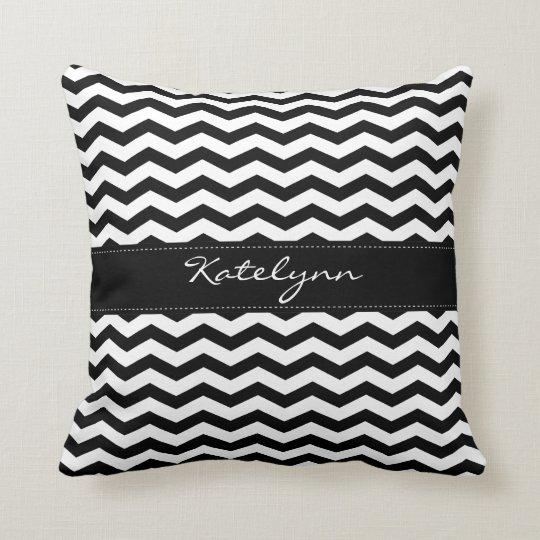 Monogram Black Chevron Zigzag Print Pillows