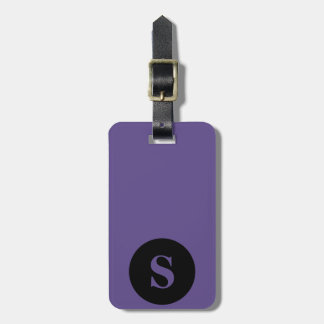 Monogram Black Circle on Ultra Violet Purple Luggage Tag