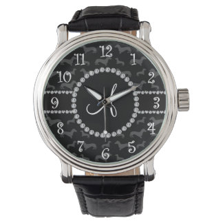 Monogram black dachshund wrist watch
