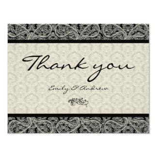 Monogram Black Damask Paisley Wedding Thank You 4.25x5.5 Paper Invitation Card