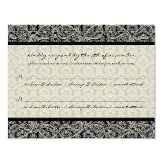Monogram Black Damask Wedding Response RSVP 4.25x5.5 Paper Invitation Card