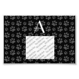 Monogram black dog paw prints art photo