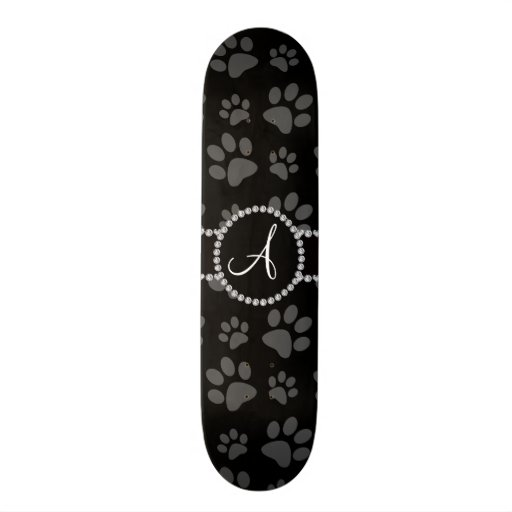 Monogram black dog paws diamond circle skateboard deck