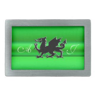Monogram, Black Dragon on green metallic-effect Belt Buckle