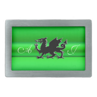 Monogram, Black Dragon on green metallic-effect Rectangular Belt Buckles