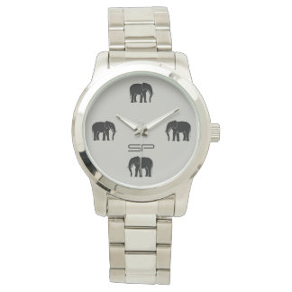 Monogram Black Elephant Numerals on Silver Watch