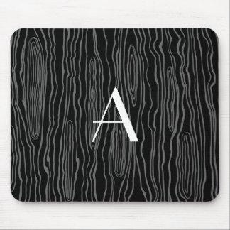 Monogram black faux bois mouse pad