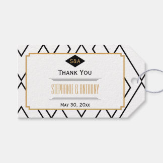 Monogram Black, Gold and White Art Deco Thank You