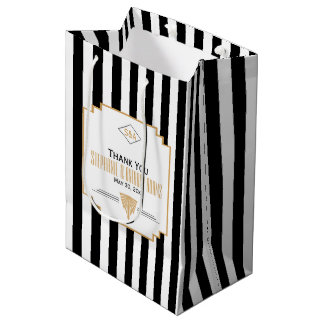Monogram Black, Gold and White Art Deco Wedding Medium Gift Bag