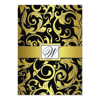 Monogram Black & Gold Damask Wedding Invitations