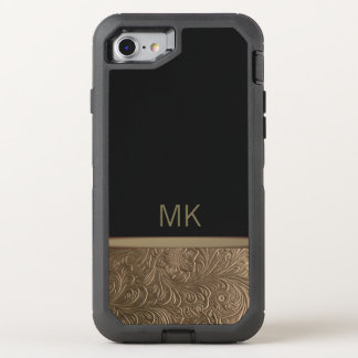 Monogram Black Gold OtterBox Defender iPhone 8/7 Case