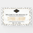 Monogram Black, Gold, White Art Deco Wedding Banner