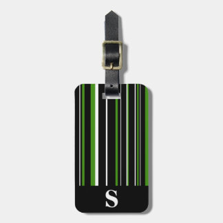 Monogram Black, Green, White Barcode Stripe Luggage Tag