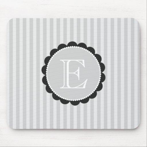 Monogram Black Grey White Scalloped Stripes Mouse Pads