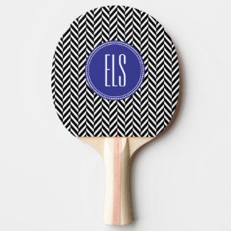 Monogram Black Herringbone Ping Pong Paddle