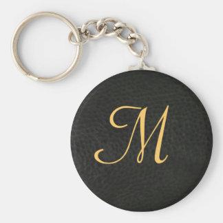Monogram Black Leather Graduation Keychain